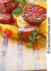 Cut tomatoes with copy space