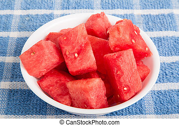 Cut Watermelon Chunks in White Bowl - Fresh cubed watermelon...