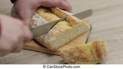 cut white bread close-up
