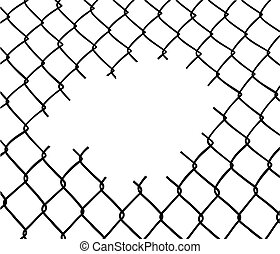 Cut wire fence. White background. Vector available