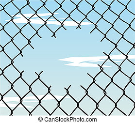 Cut wire fence with blue sky and clouds background. Vector available