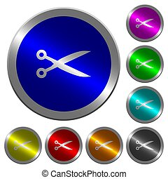 Cut with scissors luminous coin-like round color buttons