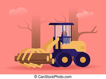 Cut Wood Industry Occupation. Lumberer Driving Log Harvester Working at Forest Area for Delimbing, Cutting and Sorting Wood Pile. Woodcutter Truck Tree in Forest. Cartoon Flat Vector Illustration