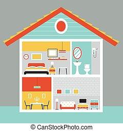 cutaway, 房子, 由于, 房間, 以及, 家具, 套間, 設計