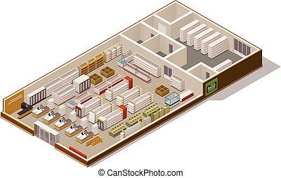 cutaway, isométrico, vector, supermercado