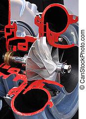 cutaway, modelo, turbocharger