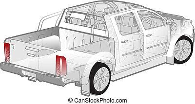 cutaway, pickup, infographics