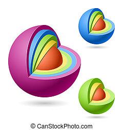 cutaway, spheres