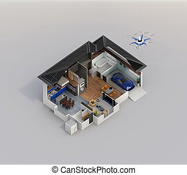 Cutaway view of smart house interior. This house supply with...