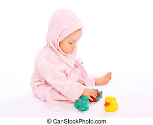 cute, água, bathrobe, borracha, brinquedos, bebê, tocando
