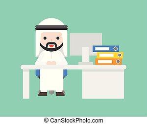 cute, árabe, homem negócio, sentar, escrivaninha, situação empresarial, local trabalho, conceito