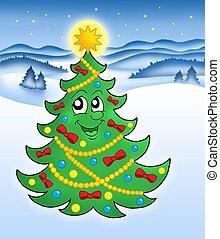 cute, árvore, natal, paisagem, nevado
