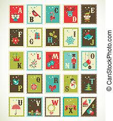 cute, ícones, alfabeto, natal, vetorial, retro, xmas
