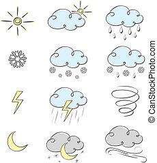 cute, ícones, cobrança, mão, tempo, desenhado