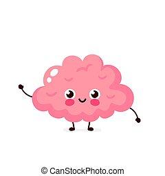 cute, órgão, saudável, personagem, cérebro, human, feliz