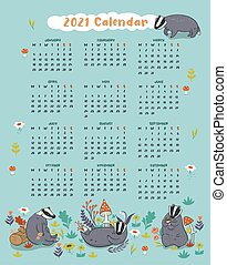 Cute 2021 calendar with badgers. Vector graphics.