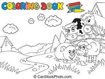 cute, 3, coloração, animais, livro