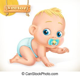 cute, 3, vektor, baby., kid., ikon