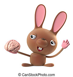 Cute 3d cartoon bunny rabbit holding a brain
