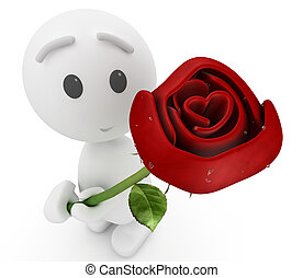 """cute 3d guy offers you a rose(""""Happyman"""" series)"""