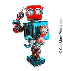 Cute 3D Retro Robot with phone tube. 3D illustration. Isolated. Contains clipping path