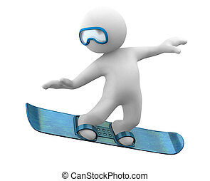 3d little abstract person jumping with snowboard