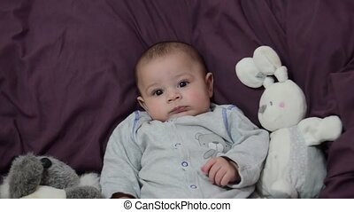 cute 4 months old baby boy on purple bedding with bunny toy zoom in