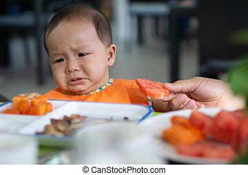 cute, 5-6, mês, asiático, menina bebê, não, querer, comer,...