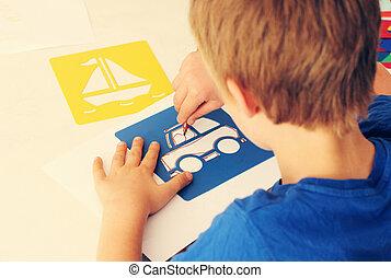 cute, 6, anos velho, menino, desenho