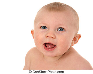 Cute 6-month old baby portrait isolated