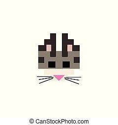 Cute 8 bit bengal cat vector illustration. Pixel feline pet clipart.
