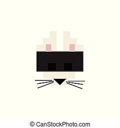 Cute 8 bit black cat vector illustration. Pixel Feline pet clipart.