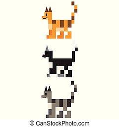 Cute 8 bit cat breed vector illustration. Feline pet pixel clipart.