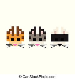 Cute 8 bit cat breed vector illustration. Pixel feline pet clipart.