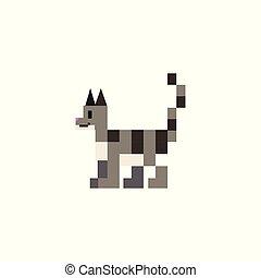 Cute 8 bit gray cat vector illustration. Pixel feline pet clipart.