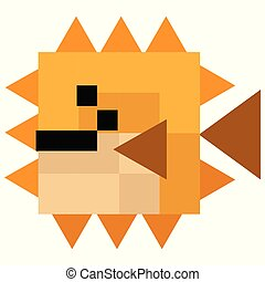 Cute 8 bit pufferfish illustration. Retro game fish vector. Pixel sealife clipart.