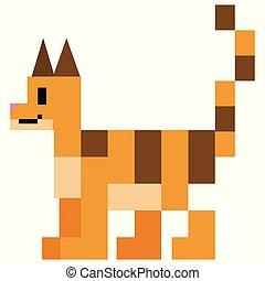 Cute 8 bit tabby cat vector illustration. Clip art pet kitty pixel art.
