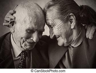 cute, 80, positivo, ano velho, par casado, posar, para, um,...