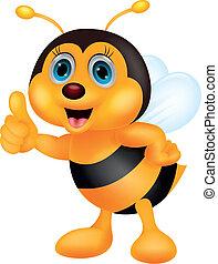 cute, abelha, caricatura, polegar cima