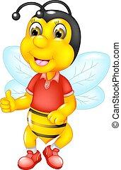 cute, abelha, caricatura, posar, sorrizo, com, polegar cima