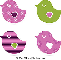 Cute abstract birds collection isolated on white - Retro...