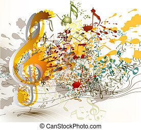 Cute abstract music background with notes and staves for...