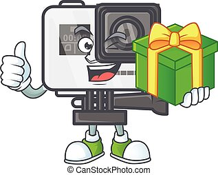 Cute action camera character holding a gift box