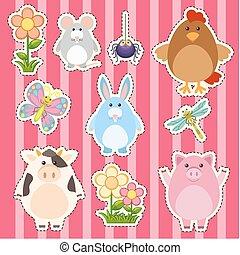 cute, adesivo, flores, animais, desenho