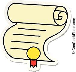 cute, adesivo, importante, documento, caricatura