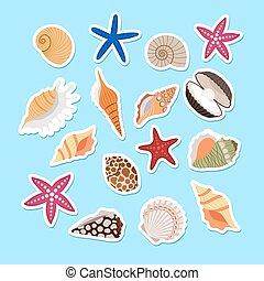 cute, adesivos, escudos mar