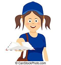 cute, adolescente, entrega, menina, com, envelope, em, uniforme azul, branco, fundo