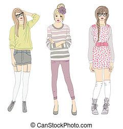 cute, adolescente, moda, meninas