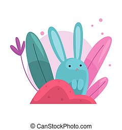 Cute Adorable Bunny Hiding and Peeking Out of Colorful Dense...