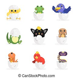 Cute adorable colorful newborn animal characters set, funny reptile and birds in egg shell cartoon vector Illustration
